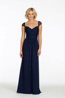 Reference Images Ruched Short Sleeve BIG Discount,2014 New Arrival Sweetheart Capped Sleeves Ruched Navy Blue Chiffon Bridesmaid Dresses Cheap Long Maid of Honor Dresses
