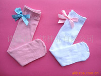 Wholesale White South Korean children cotton in tube socks bow princess socks wild color High Socks