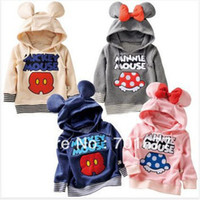 Wholesale Fashion Minnie Micky Mouse Pattern Modeling Hooded Cotton Coat Tops Children Outerwear Kids Casual Clothing
