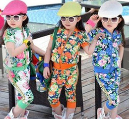 Wholesale 2014 Fashion Children Girls Tropical Flowers Printed Short Sleeve Coat Haren Pants Set Sport Fashion Girl Clothing B2913