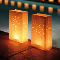 bbq party supplies - 30pcs X Sun Firework Luminaria DIY manual paper Lantern Candle Bags For Xmas BBQ Party Wedding decoration supplies