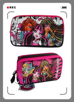 Fabric   New 2014 Children Girl's Cartoon MONSTER HIGH Fashion Pencil Bag High Quality Brand Design 600D Oxford Pencil Case Gift for Kid High Quality
