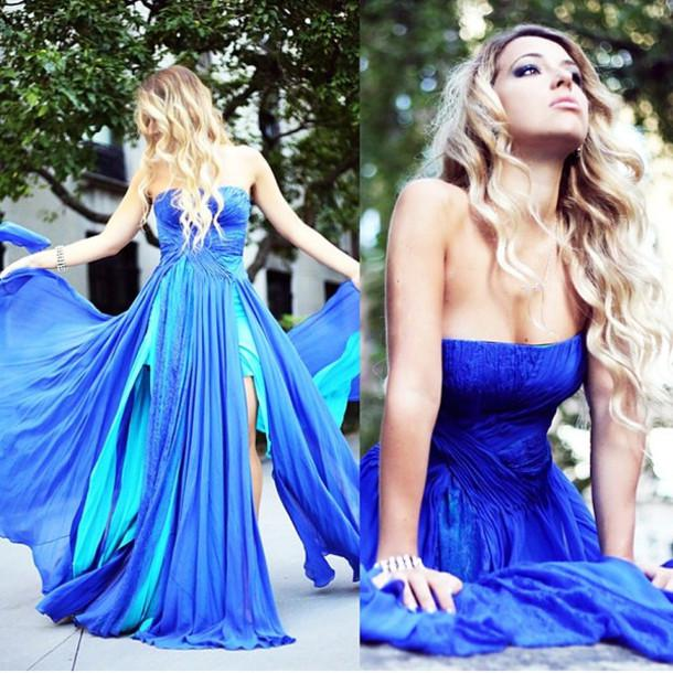 2016 Fairy Tale Blue Prom Dresses Fit And Flare Strapless Gathered ...