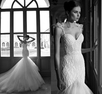 Wholesale Newest Style Hot Sale Mermaid Wedding Dresses Beaded Spaghetti Strap Tulle Bridal Wedding Gowns