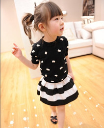 Wholesale Princess Girls Black White Stripe Pleated Skirts Children Clothing Vintage Striped Half Dress Summer Midiskirt Short Dresses D2181