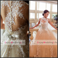 Wholesale 2014 Sexy New Sheer Sleeveless Tulle A Line Wedding Dresses Applique Floral Beaded Court Train Bridal Gowns With Buttons Back BO4807