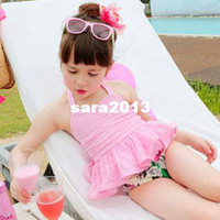 Boy Bikinis 3-6 Months 2014New Fashion lace sweet princess children fission skirt hot spring bathing suits,Girls Swimwear skirt cap 3pcs swimsuit