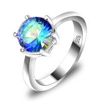 Wholesale Supply new sterling silver plated small punk genuine Mystic topaz crystal gemstone cocktail wedding rings for lovers R0202