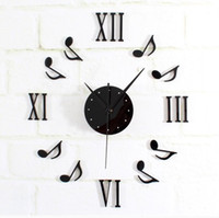 Wholesale 2014 Hot selling DIY music notes acrylic wall clock home decoration musical clock wall sticker