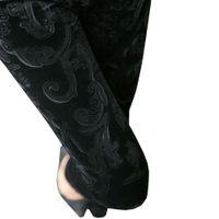 Mid velvet flower - Women Pleuche Velvet Flower Print Leggings Jegging Tights Pants FFL303