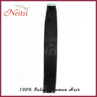 Wholesale 100g quot Brazilian Virgin hair weft Tape in Human Hair Extensions silky straight hair Darkest Brown