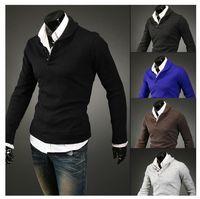 Wholesale New Mushroom Men sweater buckle design men s long sleeved sweater
