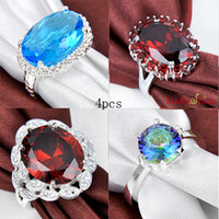 stone ring Jewelry 925 silver fashionable rings 4pcs