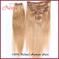 Wholesale New set quot set Indian remy Clip in hair Human Hair Extensions for a full head g set Fast via DHL