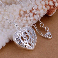 Wholesale NewWholesaleP010 fashion jewelry chains necklace silver pendant Three dimensional heart pendant bokakfrasx