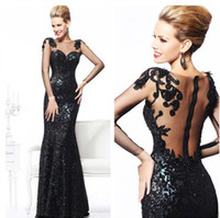 Reference Images Crew Sequined 2014 Attractive Sheer Long Sleeves Sequins Mermaid Illusion Back Tarik Ediz Evening Dresses Tulle Applique Beaded Floor Length Prom Gowns