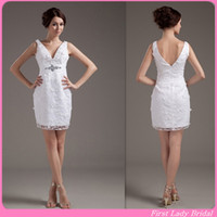 Cheap Sheath/Column Short Wedding Dresses Best Reference Images V-Neck wedding dresses lace