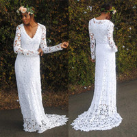 Sheath/Column Reference Images V-Neck Charming Free shipping 2014 hot sale long sleeve lace wedding dresses v neck Boho romantic garden beach bridal wedding gowns