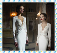 Cheap Sheath/Column mermaid wedding dress Best Reference Images V-Neck bridal gown