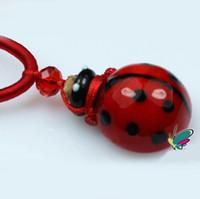 Bohemian essential oil necklace - HOT Sale Blue Red Ladybug Design Glass Essential Oil Pendant Necklace MINI Perfume Vials Storage Bottle Premiums Gift DC258