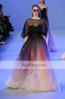 Wholesale 2014 Elie saab Spring New Arrival Black Colorful Ball Gown Dyed fabric Sheer neck Tulle Waist Pleats Formal Evening Prom Dresses Custom Made