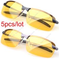 Wholesale 5pcs Men s Polarized Driving Sunglasses Yellow Lens Night Vision Driving Glasses Goggles Reduce Glare