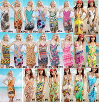 Wholesale Sexy Women s Wrap Beach Dresses Chiffon Bikini Cover Up Wrap Braces Skirt Slip Dress Floral Bohemian Swimwear Beachwear New Colors Option