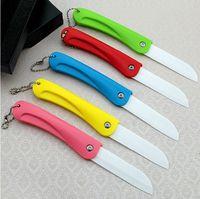 Wholesale 10pcs Ceramic Knife inch Folding Pocket Knife Fruit Knife Kitchen Knives Bread Fruit Vegetables Meat Ceramic Cutter