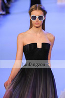 Wholesale 2014 Elie saab Spring New Arrival Black Colorful Dyed fabric Chiffon Pleated Sweetheart Waist Pleats Formal Evening Prom Dresses Custom Made