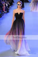 Sweetheart dyed fabric - Elie saab Backless Evening Dresses Black Colorful Dyed fabric Chiffon Pleated Floor Lenght Cheap Formal Prom Party Dress