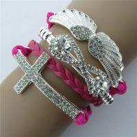 Wholesale Fashion infinity crystal corss diamond angel wings bracelet colorful leather rope handmade bracelets