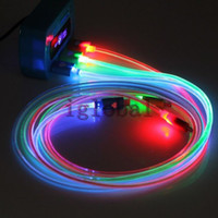 Wholesale 1M Micro LED USB Data Cable Free DHL Charger Lights Up Sync Glow Flash Charging Leading cable