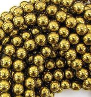 Wholesale 10mm Fasion Gold Hematite Loose ball Beads Shamballa Findings Fit DIY Bracelet Bead for bracelet hotsale DIY Findings Jewelry