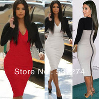 Casual Dresses V_Neck Knee Length 2014 New sexy knee-length pencil Bandage Dress Celebrity bodycon Shift Party Pencil Dress