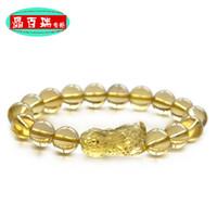 Charm Bracelets Natural crystal / semi-precious stones Citrine Crystal Berry genuine opening of natural citrine crystal jewelry bracelet brave men Lucky bracelets