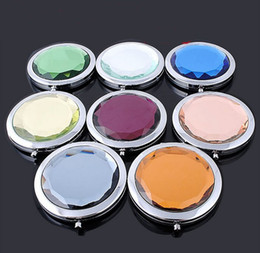 Wholesale 10pcs Women s Compact Mirrors mini portable Compact Mirrors crystal Compact Mirrors