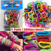 Charm Bracelets Children's Gift 5 Packs (3000pcs) 2014 Hot Rainbow Rubber Loom Bands Kit DIY Bracelets Colorful Children Toy Gift with S-Clips and Hook,Free Shipping