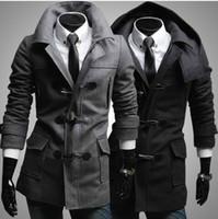 Wholesale 2014 new men s coats Hooded woolen coat Diagonal Horn button coats Outwear