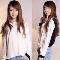 Casual Women Chiffon 2014 Korean style long-sleeved chiffon top loose shirt girls bottoming shirt ladies full sleeve shirt