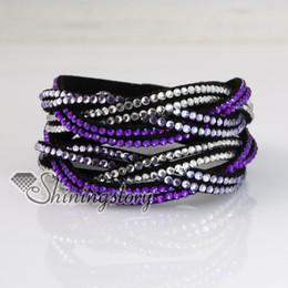 rainbow color double layer crystal rhinestone bracelets slake bracelet wristbands genuine leather wrap bracelet charm bracelets