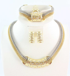 Top Quality Bridal Necklace Bracelet Earring Ring Jewelry Set African Gold Plated Charming Costume Jewelry Sets