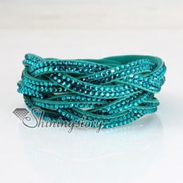 double layer crystal rhinestone bracelets slake bracelets wristbands genuine leather wrap bracelet fashion leather bracelet jewelry
