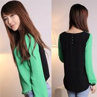 Casual Women Chiffon 2014 Korean style long-sleeved chiffon top loose shirt girls bottoming shirt ladies full sleeve shirt