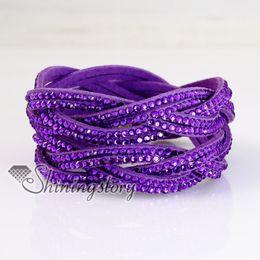 double layer crystal rhinestone slake bracelets wristbands genuine leather wrap bracelet fashion leather bracelet jewelry