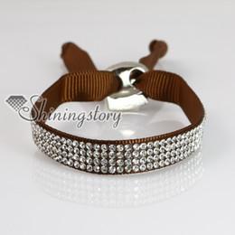 crystal rhinestone ribbon slake bracelets adjustable wristbands personalized leather bracelets fashion leather bracelet jewelry
