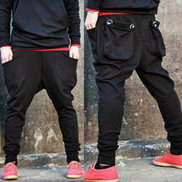 Wholesale New Fashion Men Harem Baggy Sweat Pants Athletic Sporty Casual Tapered Sport Hip Hop Dance Trousers Slacks Joggers SweatPants