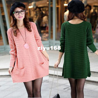 Wholesale Autumn summer Long Sleeve Casual Knitted Sweater Dress Women Oversized Long Sweaters Pullover Plus Size