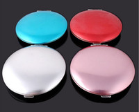 Round metal compact mirror - 10pcs Women s Compact Mirrors mini portable colours Aluminum alloy beautiful Compact Mirrors crystal Compact Mirrors