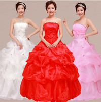 Wholesale 2014 Newest Design High end fashion Bride Princess Wedding Dress Pink Red White Lace Up
