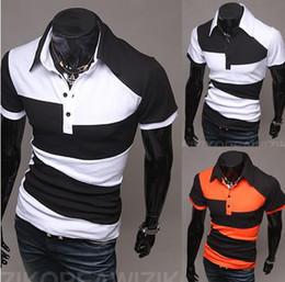 Wholesale New Fashion Korea slim men s t shirts Irregular mixed colors short sleeve mens t shirt mens polo shirts black